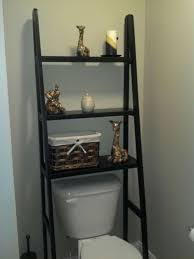 bathroom over the toilet storage ideas. Black Ladder Over The Toilet Storage For Small Bathroom Ideas With Grey Wall Color And Wicker Basket