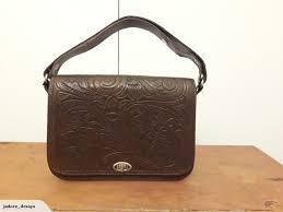 delightful retro vintage tooled leather bag trade me