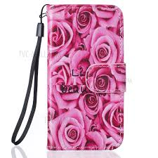 pattern printing leather wallet phone case with lanyard for iphone se 5s 5