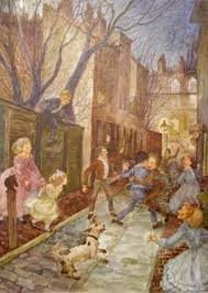vine childrens book ilration nursery rhymes mother goose children playing in the street