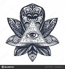пирамида с глазом тату глаз на Lotus татуировки векторное
