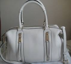new michael kors julia optic white large satchel leather bag purse white 428