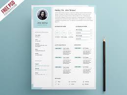 Clean Resume Cv Template Psd Template Psdfreebies Com