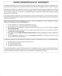 Self Employed Independent Contractor Agreement Between An Owner ...