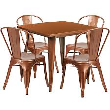 outdoor metal table set. Square Copper Metal Indoor-Outdoor Table Set With 4 Stack Chairs Outdoor E