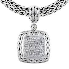 john hardy classic chain collection pave diamond pendant necklace