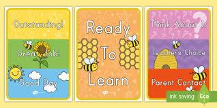 Cursive Bee Behavior Chart