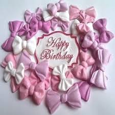 24 Edible Sugar Ribbons Bows Plaque Happy B Day Cake Cupcake