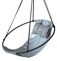 Hanging swing chair Rattan Swing Zoom Image Sling Hanging Swing Chair Silver Metallic Leather Contemporary Industrial Transitional Metal Dering Hall Sling Hanging Swing Chair Silver Metallic Leather Contemporary