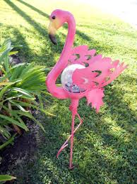 flamingo garden solar powered pink flamingo garden stake light le glass ball garden decor flamingo gardens