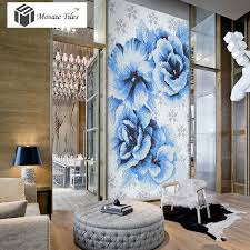 tst mosaic collages big blue flowers puzzle patterns customized fl crystal glass tiles
