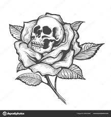 Tetování Lebkou Uvnitř Růže Květ Vektorové Ilustrace Stock Vektor