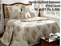Buy Quilts Online in India- Maspar & Hand-Quilted Damask Print Quilt IN JUST Rs 8,999. Adamdwight.com