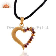 more views 18k gold over sterling silver genuine multi gemstone heart pendant necklace