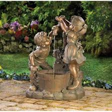 Solar Powered Granite Couple Water Feature With Battery Back Up Solar Powered Water Feature With Lights