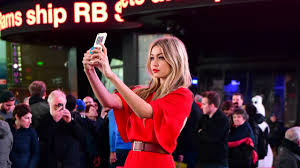 new york ny may 02 gigi hadid seen filming a maybelline mercial in times square on