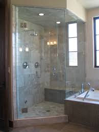 shower stall design idea with glass door and black frame combine with subway plus tiled shower enclosures