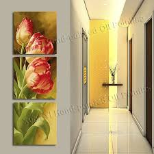 >3 panel modern printed tulip flower painting picture cuadros flowers  aeproduct