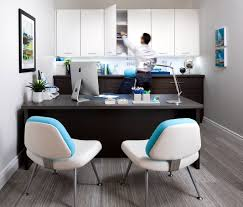 blue white office space. Brilliant Design Home Office Ideas Featuring Rectangle Shape Black Wooden Desk And Armless White Blue Colors Guest Chairs Space S