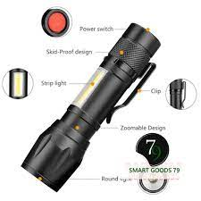 Freeship hàng cao cấp 242] Đèn pin siêu sáng mini bin sạc điện usb bóng led  xpe cob có zoom chống nước cầm tay chính hãng 48,300đ