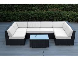 image black wicker outdoor furniture. outdoor furniture wicker sectional sofa ohana with beige cushion collection image black