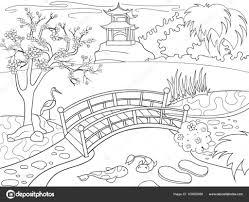 漫画の子供のための塗り絵日本の自然日本の庭のベクトル図 ストック
