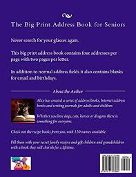 The Big Print Address Book For Seniors Includes Email And Birthdays