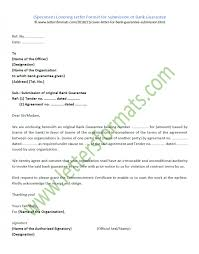 Bank Guarantee Letter Covering Format For Submission Of