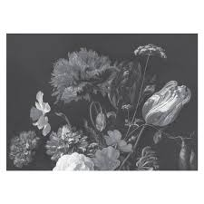 Golden Age Flowers Zwart Wit Vliesbehang 3896x280cm 8 Sheets