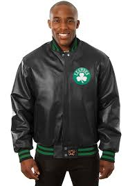 boston celtics mens black all leather jacket heavyweight jacket image 1