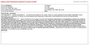 Crop Research Scientist Cover Letter | Cover Letters Templates ...