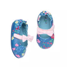 Pitter Pat Baby Girls Floral Mary Jane Flats In Blue