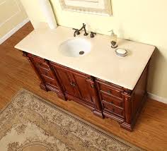 silkroad exclusive 62 single sink cabinet crema marfil top undermount white ceramic sink 3 hole