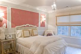 crystal chandelier paired with pink fl wall decor plus shabby chic white bedroom idea modern new 2017 design ideas