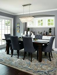 Rug For Round Dining Table Deep Silver Dining Room With Dark Wood