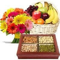 deliver diwali gifts to hyderabad send 12 mix gerberas 3 kg fresh fruit