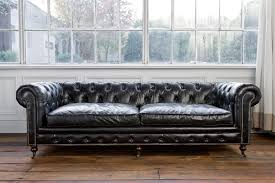 Sofas : Fabulous Black Leather Tufted Chesterfield Sofa With Nails Accent  On Wooden Floor As Well Extra Deep Couch Covers Plus Long Furniture Green  Velvet ...