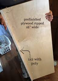 We used prefinished plywood but you could also just buy shelving that is  already finished. We ripped the sheet of prefinished plywood into 15-3/4