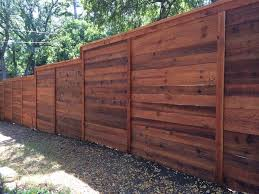8'H Horizontal Cedar Privacy Fence w/Cap & Trim, stained traditional