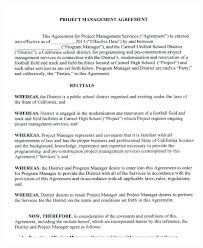 Project Management Agreement Template 9 Templates Free Sample