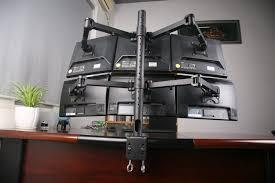 mount it articulating dual arm computer monitor height adjule 6 screen desk mount com
