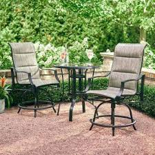 outdoor table and chairs pewter 3 piece outdoor balcony height dining set plastic garden table