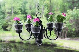 upcycled flower planter chandelier 4