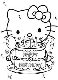Happy Birthday Hello Kitty Coloring Page Free Printable Coloring