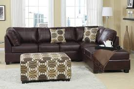 brown leather sectional sofa with chaise and artistic fl cushion coffee table on white living room rug furniture modern recliner wooden black small