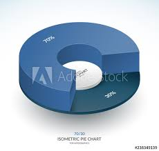 Infographic Isometric Pie Chart Circle Share Of 70 And 30
