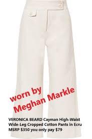 Pants In Veronica Beard Cayman High Waist Wide Leg Cropped Cotton Pants In Ecru Msrp 350