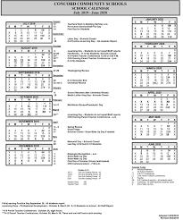 School Year Calendar Concord Community Schools