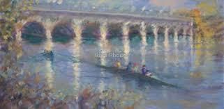 Rowing practice by Belle Isle Bridge by Roselyn (Rose) Rhodes   Painting,  Original art, Art