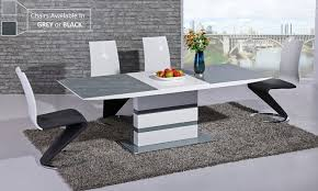 outdoor good looking gloss dining table and 6 chairs 7 extendinding white high set